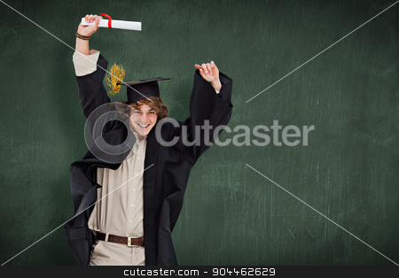 Composite image of male student in graduate robe jumping stock photo, Male student in graduate robe jumping against green chalkboard by Wavebreak Media