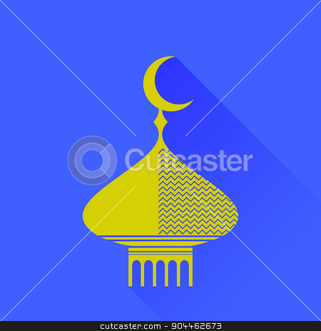 Dome Icon stock vector clipart, Dome Icon Isolated on Blue Background. Long Shadow by valeo5