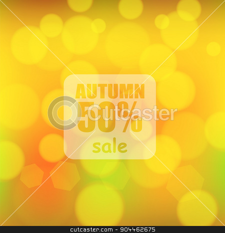 Autumn Background stock vector clipart, Sunny Autumn Background. Blurred Yellow Fall Pattern by valeo5