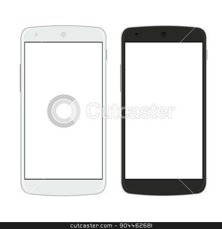 Vector modern  smartphones isolated on white  stock vector clipart, Vector modern  smartphones isolated on white background by petr zaika