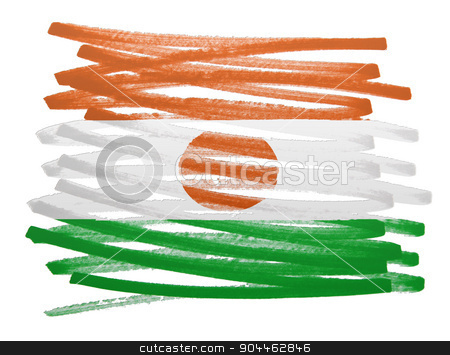 Flag illustration - Niger stock photo, Flag illustration made with pen - Niger by michaklootwijk