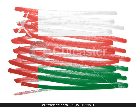 Flag illustration - Oman stock photo, Flag illustration made with pen - Oman by michaklootwijk