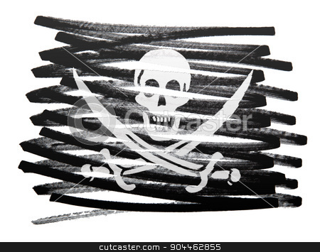 Flag illustration - Pirate stock photo, Flag illustration made with pen - Pirate by michaklootwijk