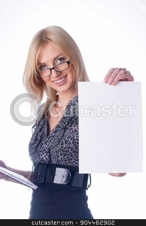 Attractive girl wth blank sheet stock photo, Young beautiful woman showing blank sheet of paper at isolated background by Aikon