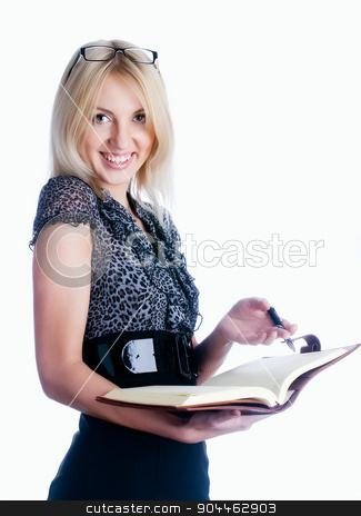 Pretty woman with daily log stock photo, Attractive young lady with diary over white background.. by Aikon
