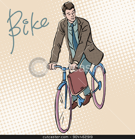 Businessman on Bicycle retro style pop art stock vector clipart, Businessman on Bicycle retro style pop art. White adult male goes to work by rogistok