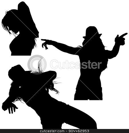 Girl Silhouette Set stock photo, Girl Silhouette Set - Black Illustrations by derocz