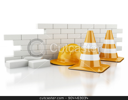 3d Traffic cones, Helmet and brick wall. stock photo, 3d renderer image. Traffic cones, Helmet and brick wall. Under construction concept on white background by nicolas menijes