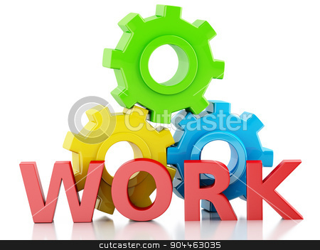 3d Color gears. Business concept stock photo, 3d renderer image. Color gears on isolated white background. Business concept by nicolas menijes