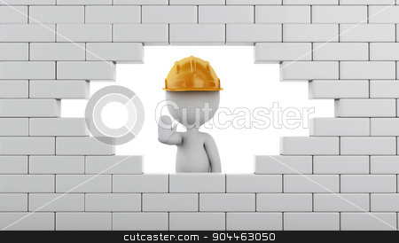 3d Broken Brick Wall with white people. stock photo, 3d renderer image. Broken Brick Wall with white people, Isolated on white. Construction concept. by nicolas menijes