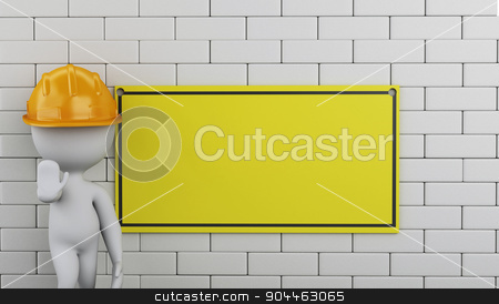 3d Under construction sign on brick wall. stock photo, 3d renderer image. White people with Under construction sign on brick wall. by nicolas menijes