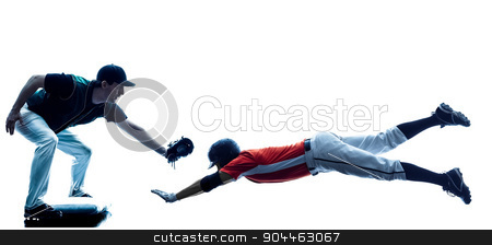 Men baseball players silhouette isolated stock photo, one caucasian men baseball players playing  in studio  silhouette isolated on white background by Ishadow