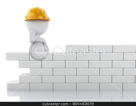 3d white people building a brick wall. stock photo, 3d renderer image. White people building a brick wall. Isolated white background by nicolas menijes