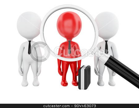 3d magnifier searching people or employee. stock photo, 3d renderer image. Magnifier searching people or employee. Business concept on white background by nicolas menijes