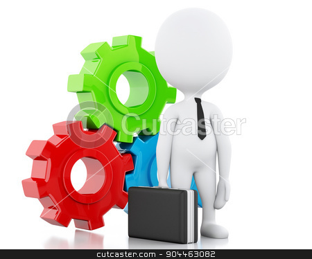 3d White business people and gear mechanism stock photo, 3d image. White business people and gear mechanism. Business concept. Isolated white background by nicolas menijes