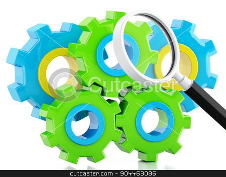 3d Color gears on isolated white background stock photo, 3d renderer image. Color gears on isolated white background. Business concept by nicolas menijes