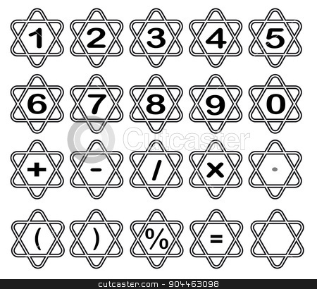 Triangular Numbers stock vector clipart, A numbers set into rounded corner triangles over a white background by Kotto
