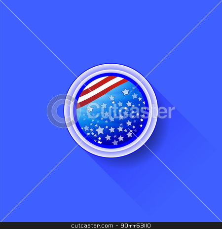 American Icon stock vector clipart, American Icon Isolated on Blue Background. Long Shadow by valeo5
