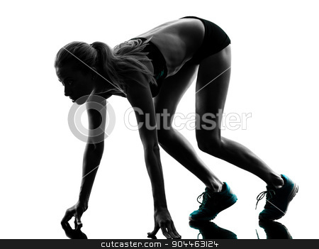 woman runner running jogger jogging silhouette stock photo, one caucasian woman runner running jogger jogging on starting blocks  in studio silhouette isolated on white background by Ishadow