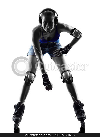 woman in roller skates  silhouette stock photo, one  woman in roller skates silhouette studio isolated on white background by Ishadow
