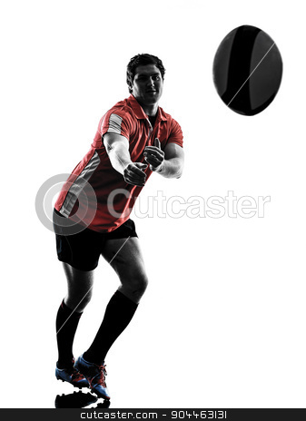 rugby man player silhouette stock photo, one caucasian rugby man player  in studio  silhouette isolated on white background by Ishadow
