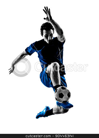 italian soccer player man silhouette  stock photo, One Italian Soccer Player Man Playing Football Jumping In Silhouette White Background by Ishadow