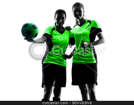 women soccer players isolated silhouette stock photo, two women playing soccer players in silhouette isolated on white background by Ishadow