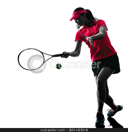 woman tennis player sadness silhouette stock photo, one woman tennis player sadness in studio silhouette isolated on white background by Ishadow