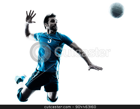 man volleyball  jumping silhouette stock photo, one caucasian man volleyball jumping in studio silhouette isolated on white background in studio silhouette isolated on white background by Ishadow