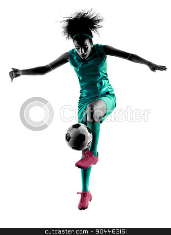 teenager girl child  soccer player isolated silhouette stock photo, one teenager girl child  playing soccer player in silhouette isolated on white background by Ishadow