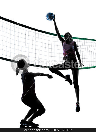 women volleyball players isolated silhouette stock photo, two caucasian women volleyball in studio silhouette isolated on white background by Ishadow