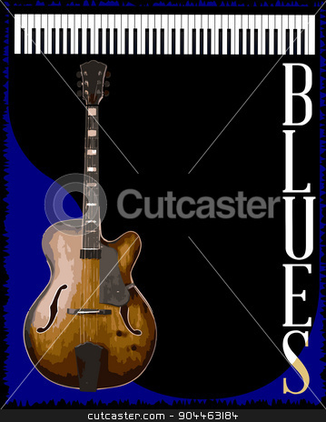 Blues Club stock vector clipart, A guitar and piano blues music style background for a poster by Kotto