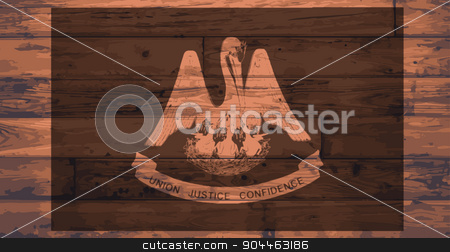 Louisiana Flag Brand stock vector clipart, Louisiana State Flag branded onto wooden planks by Kotto