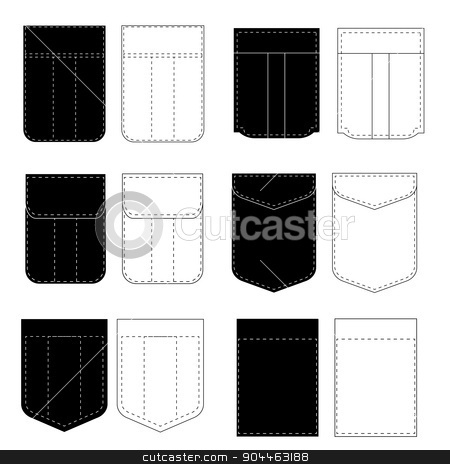 Pocket Icons stock vector clipart, Set of Pocket Icons Isolated on White Background by valeo5