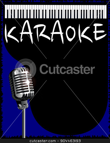Karaoke Night stock vector clipart, A karaoke music style background for a poster by Kotto