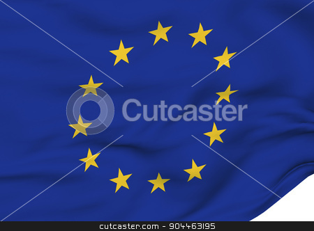 Image of a flag of Europe stock photo, Image of a waving flag of Europe by Anatolii Vasilev