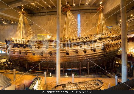 Vasa Museum in Stockholm, Sweden. stock photo, Stockholm, Sweden - June 6, 2015: The Vasa Museum in Stockholm, displays the Vasa ship, fully recovered 17th century viking warship, on June 6, 2015. by kasto