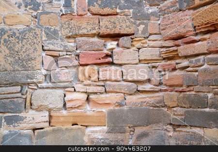 historic stone wall detail stock photo, detail of a historic stone wall seen in Colmar, France by prill