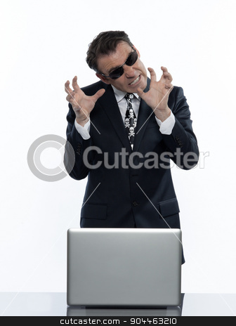 man hacker computing white collar crime stock photo, man  hacker computer attack isolated studio on white background by Ishadow