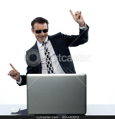 man computer hacker satisfied internet piracy stock photo, man computer hacker satisfied  in studio isolated on white background by Ishadow
