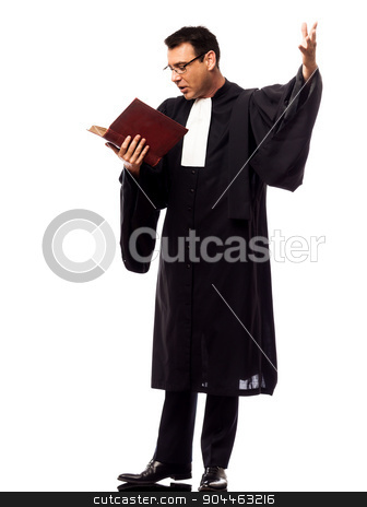 lawyer man pleading stock photo, one  lawyer man pleading in studio isolated on white background by Ishadow
