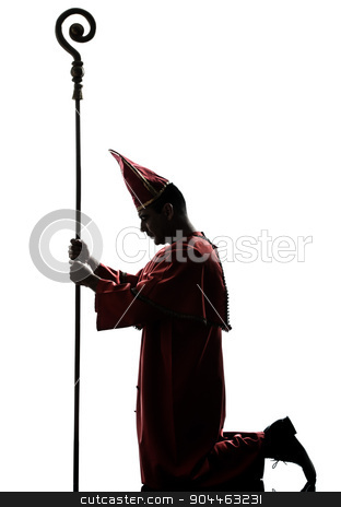 man cardinal bishop silhouette stock photo, one man cardinal bishop silhouette in studio isolated on white background by Ishadow