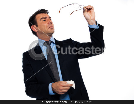 Man cleaning eye glasses stock photo, man businessman cleaning glasses studio isolated on white background by Ishadow