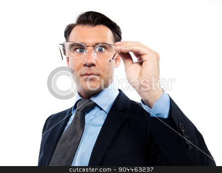 Man with bad vision difficultues stock photo, man businessman nearsighted squinting holding glasses isolated studio on white background by Ishadow
