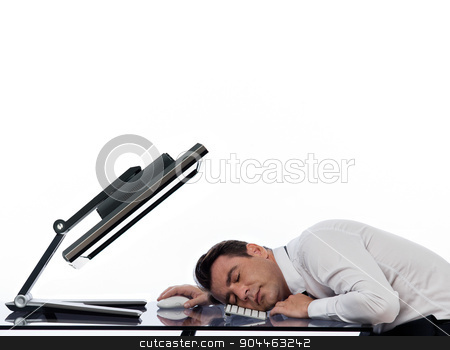 business man using computer sleeping stock photo, one  business man using computer sleeping in studio indoors isolated on white background by Ishadow