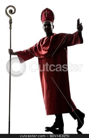 man cardinal bishop silhouette saluting blessing stock photo, one man cardinal bishop silhouette saluting blessing in studio isolated on white background by Ishadow