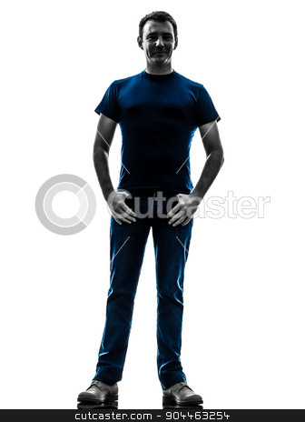 man standin silhouette  stock photo, one  man standing in silhouette on white background by Ishadow