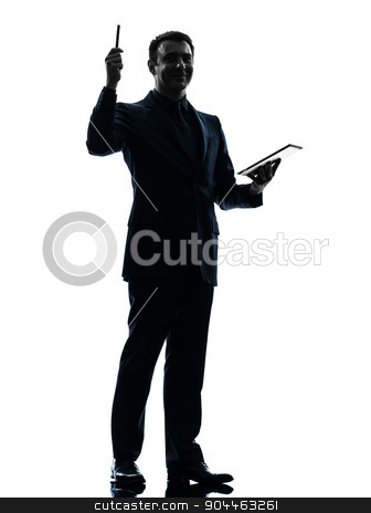 business man  digital pen stylus tablet   silhouette stock photo, one  business man holding digital pen stylus tablet in silhouette on white background by Ishadow