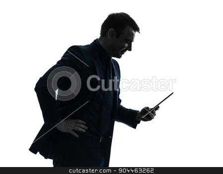 business man  digital tablet smiling  silhouette stock photo, one  business man holding digital tablet smiling in silhouette on white background by Ishadow
