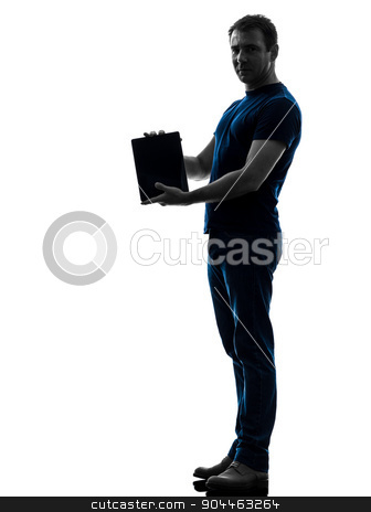man holding showing digital tablet  silhouette stock photo, one  man holding showing digital tablet in silhouette on white background by Ishadow
